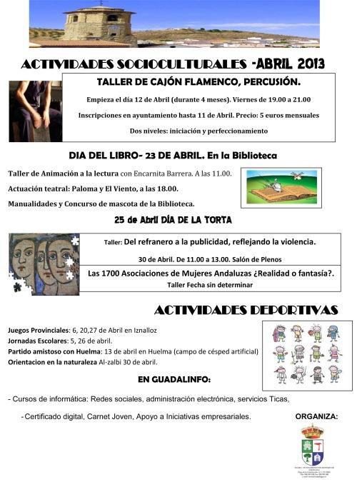 Este mes, taller de cajón flamenco, Día del Libro, Día de la Torta, actividades deportivas...