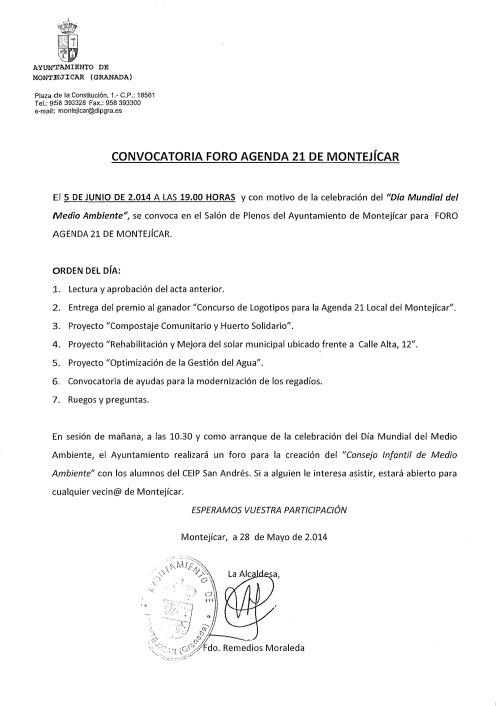 CONVOCATORIA FORO DE MEDIO AMBIENTE