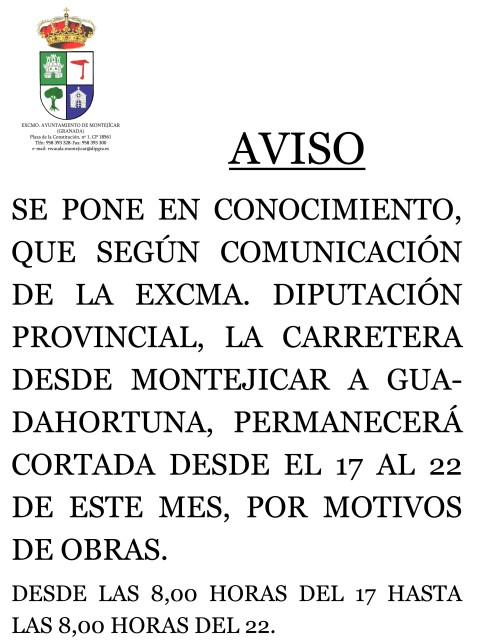 AVISO CORTE DE CARRETERA